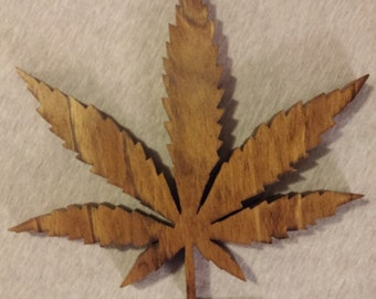 Hand Made Wood Cannabis Pot Leaf Wall Hanger