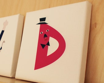 Alphabet canvas letter t home wall decor nursery kids room for Letter t decoration