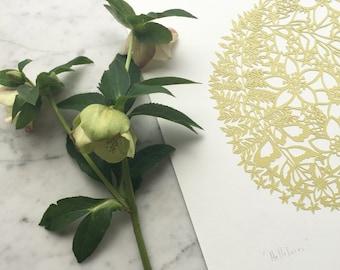 "Original Papercut Artwork ""Hellebores"""