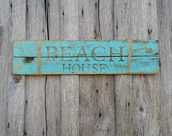 Beach House - Beach home decor - Beach cottage decor - Barn wood sign