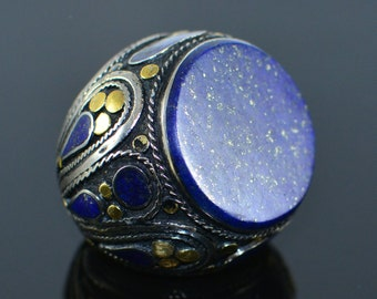 Large Afghan Lapis lazuli unique ring,Kuchi ring,Gypsy ring,Hippie ring,Tribal ring,Ethnic ring,Afghan jewelry ,Kuchi jewelry ,Gift for her
