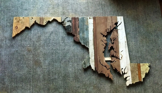 Maryland Reclaimed Wood State Outline Wall Art - Large - Maryland Reclaimed Wood State Outline Wall Art Large