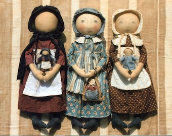 "PATTERN Early Style ""Settler Dolls"" primitive cloth doll pattern"