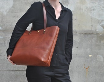 "Italian Leather Tote Bag, Leather Tote, Leather Bag, 13"" Laptop Bag, Leather Tote, Leather Shoulder Bag, Leather Diaper Bag, Cross Body Bag"