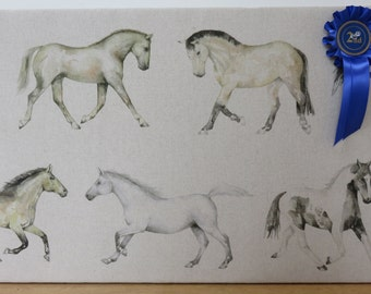 Ponies/horses fabric covered pinboard, notice board, corkboard or wall art