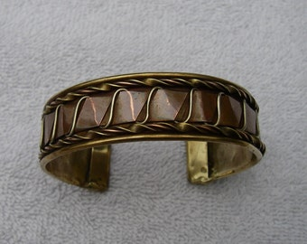 Nice COPPER & BRASS Cuff Bracelet-Hand Made-Folded-Twisted