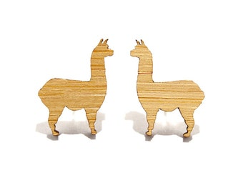 Llama Earrings in Bamboo, Llama Stud Earrings, Llama Studs, Llama Jewellery, Llama Jewelry, Wooden Llamas, Bamboo Llamas, Mini Llamas