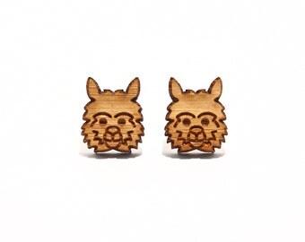 Alpaca Bamboo Stud Earrings, Alpaca Earrings, Alpaca Studs, Made in Australia, Alpaca Jewelry, Alpaca Gifts, Cute Earrings, Novelty Earrings