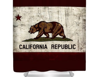 Rustic California Shower Curtain,Aged State Flag Bathroom Curtains,Patriotic  Bear Bathroom Decor,