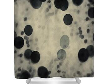 Polka Dot Shower Curtain, Rain In Cream And Black Designer Abstract Bath  Curtain,Black