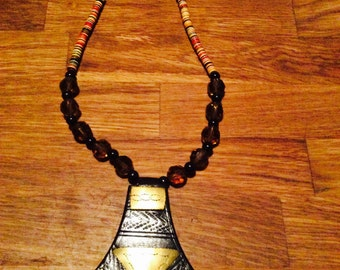 Black leather and bronze necklace
