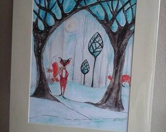 Fox painting,fox art print,fox print,folk fox,woodland fox,folk art,fox picture,winter fox,winter woodland,fox art,childrens decor,fox decor