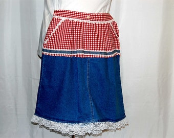 L XL plus size skirt demin red checkered restyled lace boho unique altered refashioned upcycled prairie cottage chic trendy indie womens