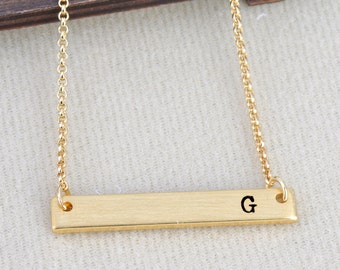 Letter G Necklace Initial Alphabet 26 Personalized A to Z Handmade Fine Brass Horizontal Bar Necklace Monogram Name Jewelry Gift BN493G-G