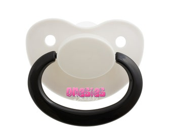 Adult Sized White/White/Black Pacifier/Dummy Nuk 6 For Adult Baby ABDL DDLG   Free Shipping WORLDWIDE