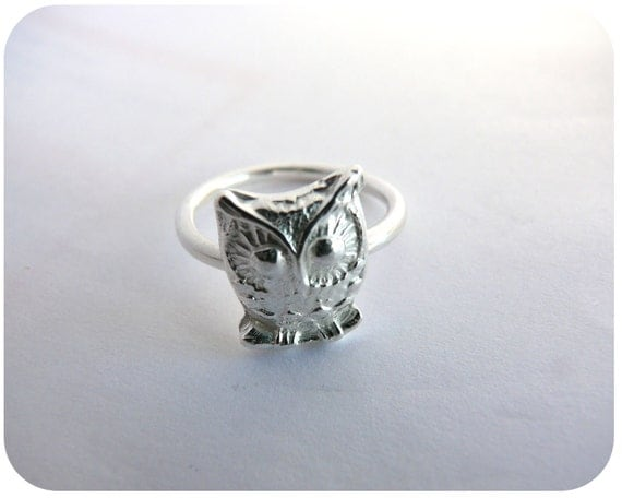 Owl Ring - Sterling & Fine Silver - Gift for Her