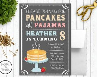 Pancakes and Pajamas Invitation | Birthday Sleepover Invitation | Birthday Breakfast Party Invitation | Pajama Party | Slumber Party Invite