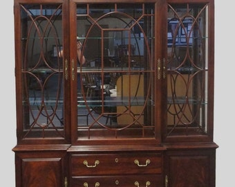 "THOMASVILLE Mahogany Collection 72"" Lighted Breakfront China Cabinet 14521-432"
