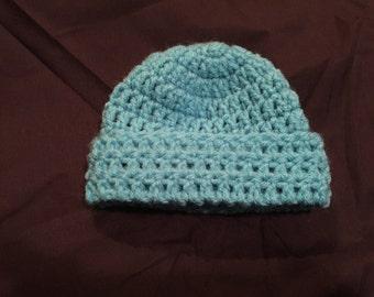 Crochet Newborn cap in blue