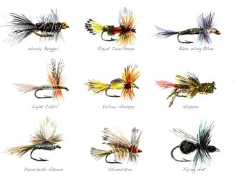Fly Fishing Flies Limited Edition Watercolor Print by Cris Clapp Logan