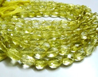 High Quality Natural Lemon Quartz Faceted beads Oval Shape, Size 8x10mm to 9x12mm. Top Quality Beads Strand 13 inch Long