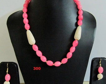 Pink Crystal Beads necklace Set 18 inch long / with extendable Lock/ Beads size 10x13mm/ Best Quality / Necklace and Earrings