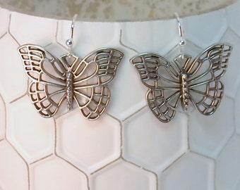 Silver Monarch Butterfly Earrings