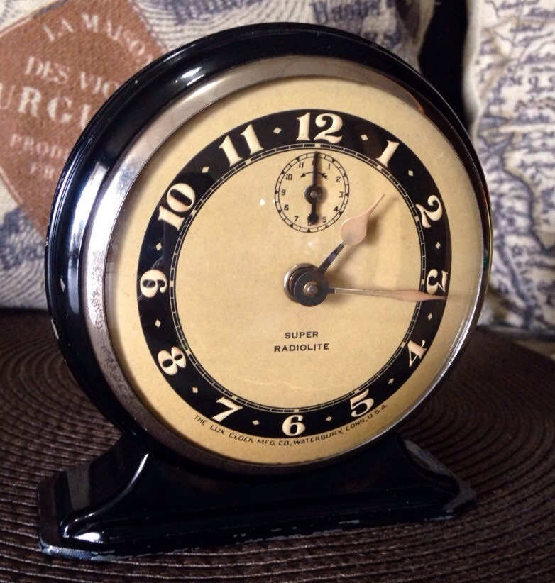 1935 art deco lux super radiolite mechanical alarm clock just