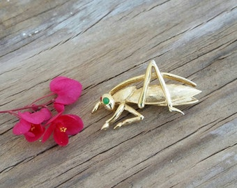 Boucher 0815P signed 1960's Grasshopper brooch,Gold Tone Metal,glass eye, Insect brooch,Estate jewelry, Entomology jewelry, Bug brooch.
