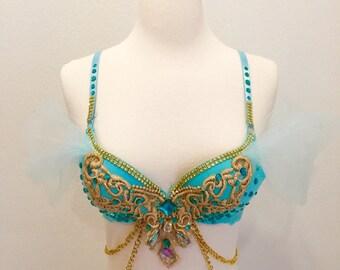 Princess Jasmine, Version 1, Costume, Rave Bra, EDC outfit, halloween Costume