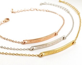 Custom Engraved Bracelet- Coordinates Bracelet, Customized Couple Bracelets, Latitude Longitude Bracelets, Location Bracelet