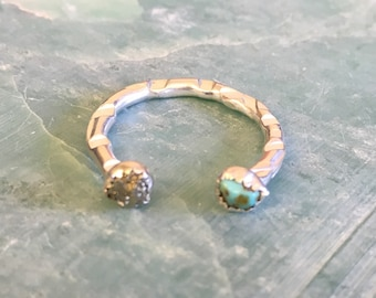 3/4 Turquoise and Pyrite Horse Shoe Ring - Sterling Silver