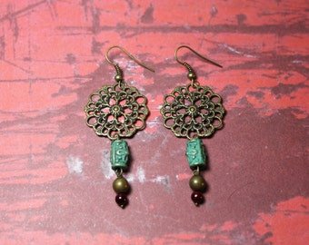 Metal & Glass Bead Earrings