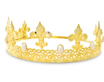 Gold and Faux Pearl Fleur de Lis King's Crown - Style 3788G