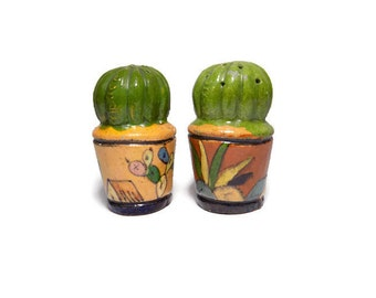 Vintage Handmade Cactus Clay Salt and Pepper Shakers, Made in Mexico, Vintage Salt and Pepper Shakers, Hand Painted Salt and Pepper Shakers