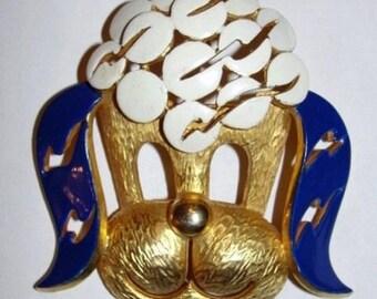 Massive Pierre Cardin 18 kt Gold Plated Enamel Poodle Head Pin