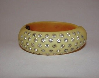 Butterscotch Bakelite Rhinestone Clamper Bracelet