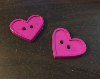 2 Heart Shaped Buttons: Fuchsia