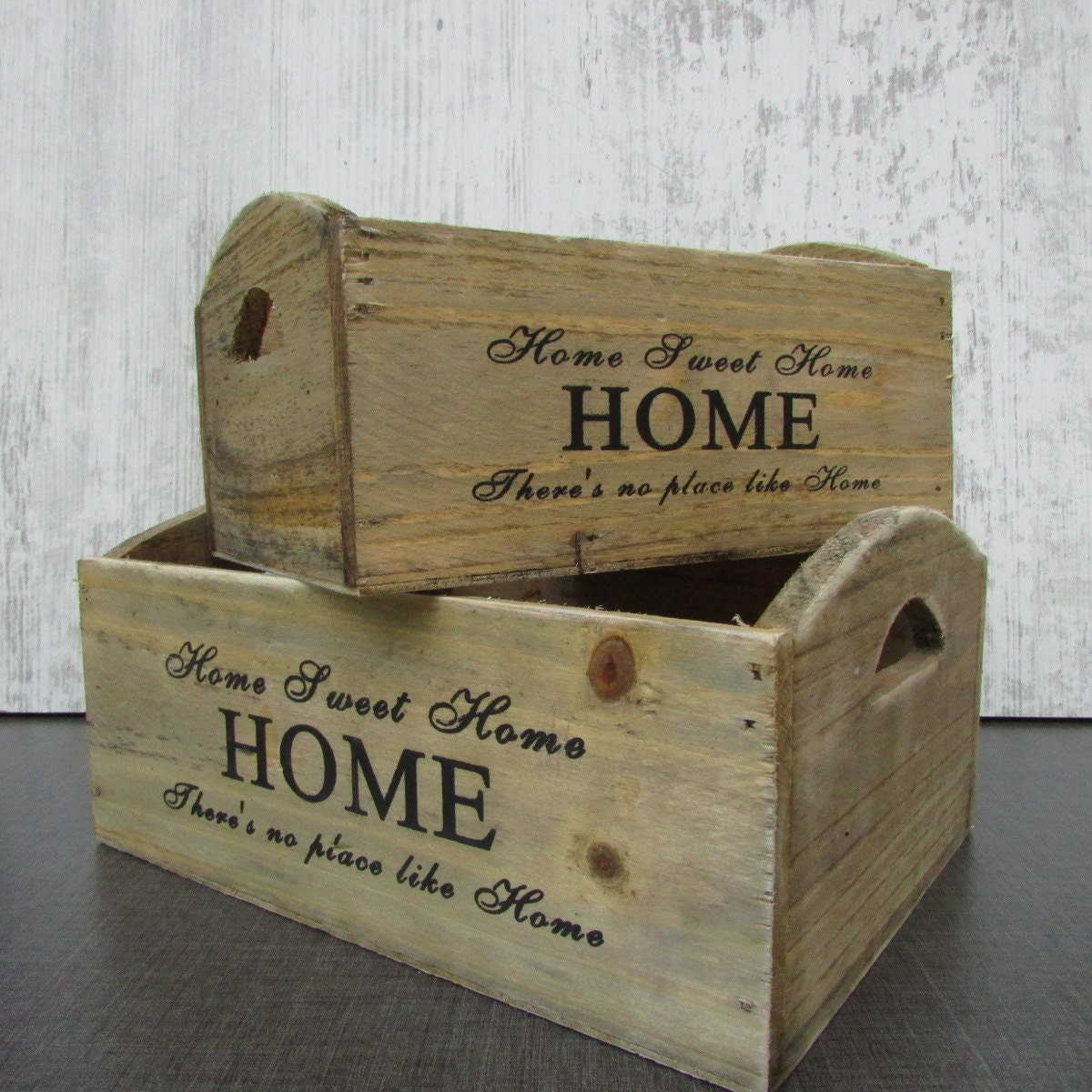 shabby set of 2 small wooden crates vintage typography. Black Bedroom Furniture Sets. Home Design Ideas