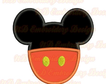 Mickey Pants embroidery Applique Design,  mouse ears head, ms-116