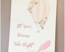 Let Your Dreams Take Flight Print, Wood Print Hanger, Clay Feather, Personalised Print, Nursery Decor, Nursery Print
