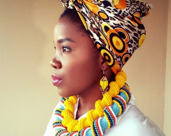 Ndebele Beaded double Chunky necklaces and earrings set