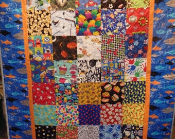 I Spy quilt, boy's quilt, crib quilt, nautical decor, homemade quilt, baby quilt, gifts for boys