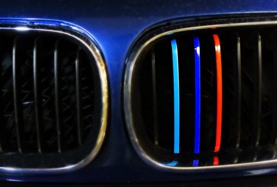 BMW M Colored Stripes Sticker Vinyl For Kidney Grille Decal - Bmw grille stripe decals