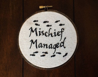 Harry Potter Mischief Managed Embroidery Hoop Wall Art