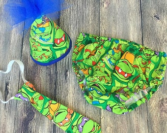 Ninja turtles cake smash outfit, boys first birthday outfit, TMNT cake smash outfit, TMNT birthday boy outfit, ninja turtle first birthday