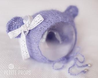 Mohair Lavender Teddy Bear Bonnet,Teddy Hat, Newborn Bonnet,Newborn Hat,Photography props, newborn girl, newborn boy, handmade,UK Seller