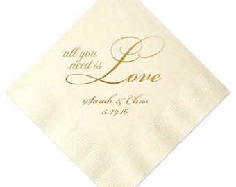 All You Need is Love Personalized Wedding Napkins