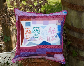 Pillowcase cat family Pink Purple with piping and trims