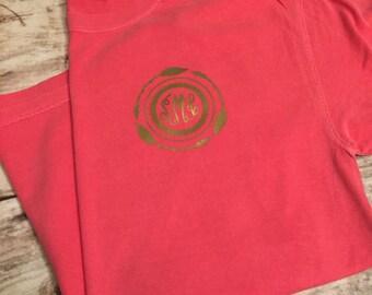 Monogrammed short sleeve shirt